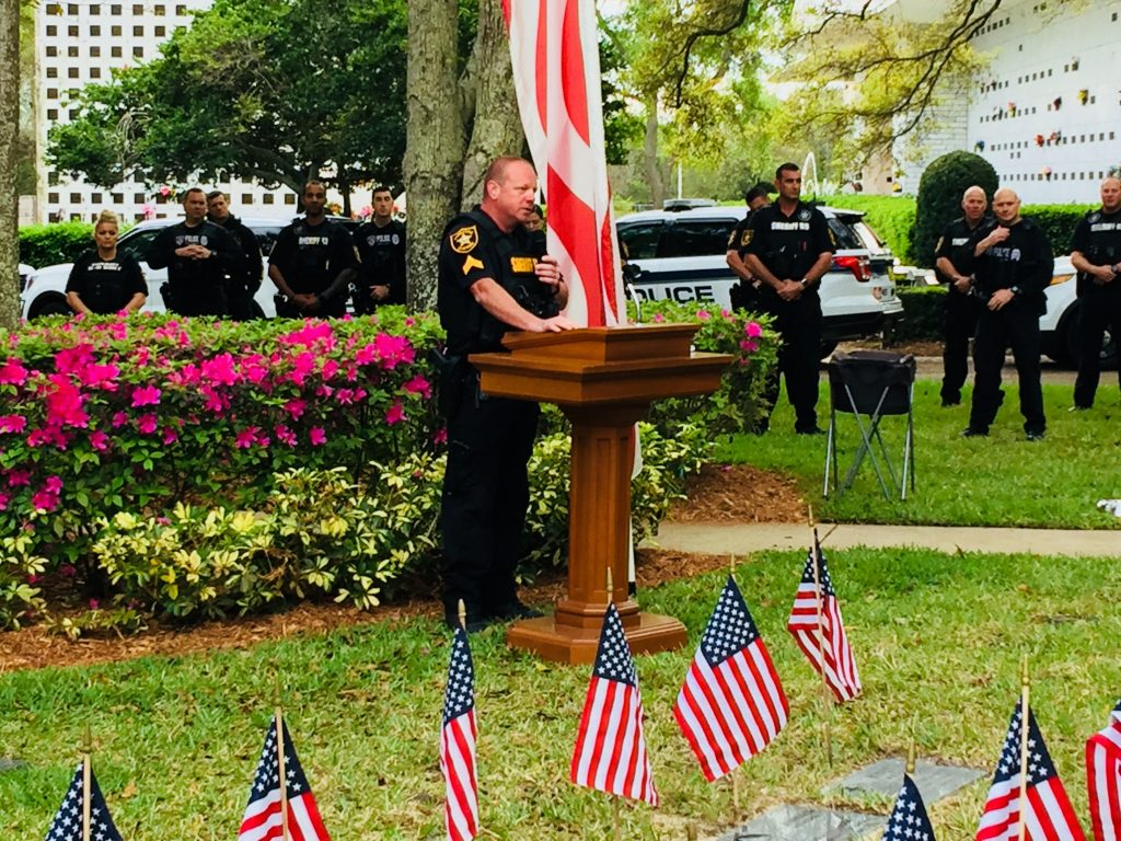Sergeant Mike Kilian conducted the memorial ceremony to honor police and military K-9s