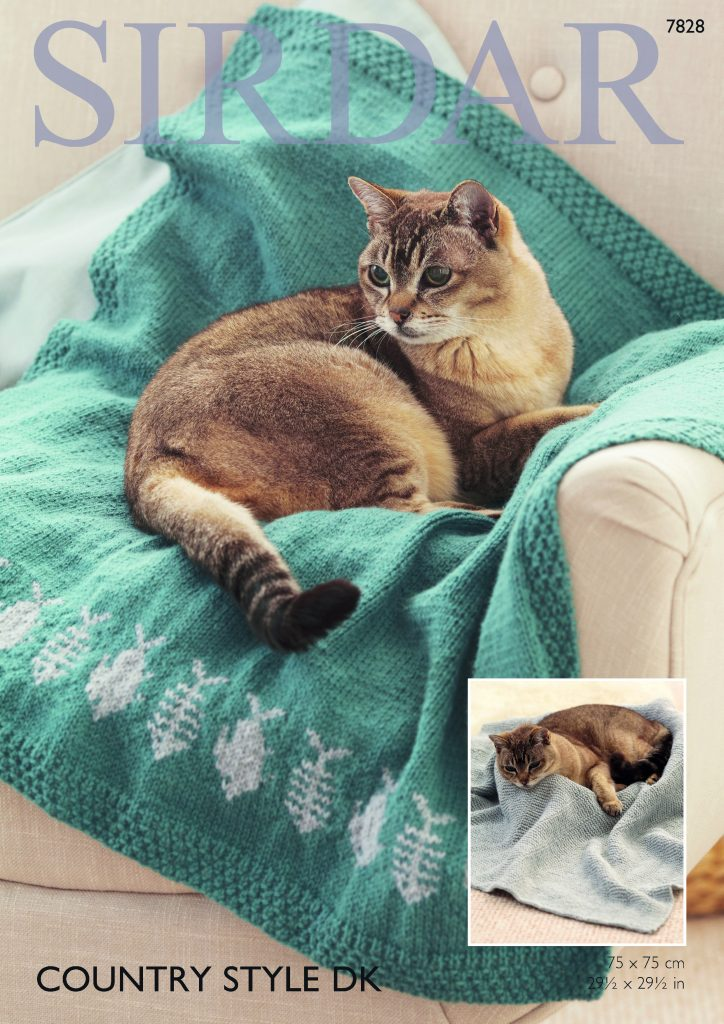 Two patterns for knitting kitty cuddle blankets in one leaflet. Reproduced by permission of Sirdar Spinning Ltd.